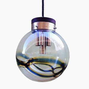 Lámpara colgante italiana Mid-Century grande con esfera de cristal de Murano de Mazzega, años 70