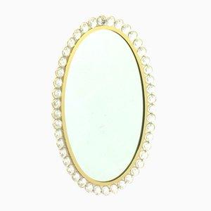Specchio in cristallo con cornice dorata di Ernst Palme per Palwa, Germania, anni '60