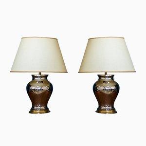 Lámparas de mesa italianas grandes, años 60. Juego de 2