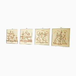 Wanddekorationen von Gio Ponti, 4er Set