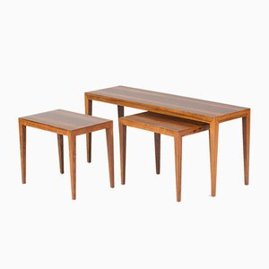 Tables Gigogne Mid-Century en Palissandre par Severin Hansen pour Haslev, 1950S