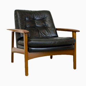Scandinavian Teak & Leather Lounge Chair, 1960s