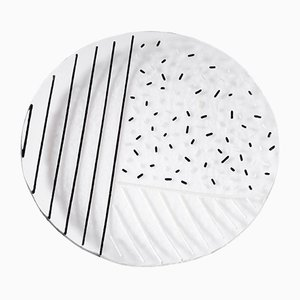 Bullseye Glass Plate by Hilla Shamia with Black Stripes & Spots Pattern