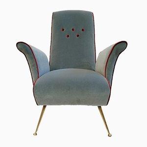Italienischer Mid-Century Sessel mit Samtbezug & Kegelbeinen