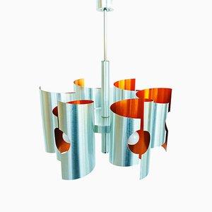 Lampadario in alluminio e metallo cromato, anni '70