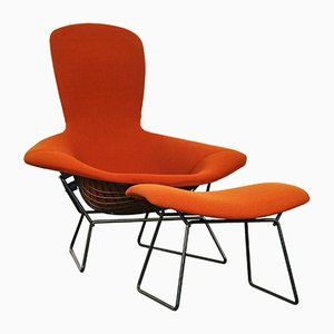 Bird Lounge Chair & Ottoman by Harry Bertoia for Knoll International, 1970s