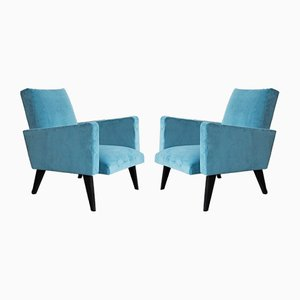 Vintage Blue Armchairs, 1950s, Set of 2