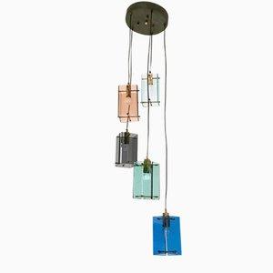 Lámpara colgante italiana de 5 luces, años 60