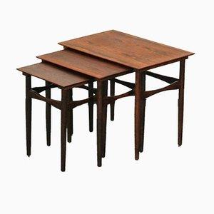 Tavolini a incastro in palissandro di Poul Hundevad per Hundevad & Co., anni '60
