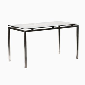 Brushed Steel Desk by Guy Lefèvre for Maison Jansen, 1970s