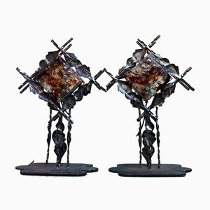 Mid-Century Brutalist Italian Table Lamps, 1960s, Set of 2