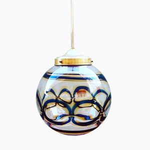 Lámpara colgante Mid-Century esférica de cristal de Murano