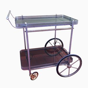 Vintage Smoked Glass Bar Cart, 1960s