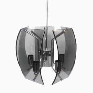Italienische Space Age Rauchglas Deckenlampe, 1960er