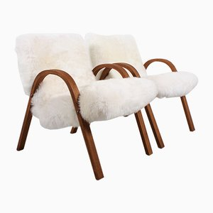 French Sheepskin Bow Wood Chairs from Steiner, 1948, Set of 2