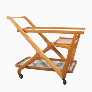 Italian Light Walnut Bar Cart by Cesare Lacca for Cassina, 1950s