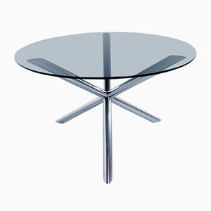 Dining Table in Chrome and Smoked Glass by Roche Bobois, 1970s