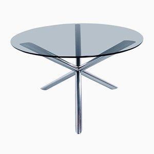 Mesa de comedor de cromo y vidrio ahumado de Roche Bobois, años 70