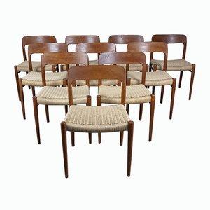 Teak Esszimmerstühle Modell 75 von Niels Otto Møller, 10er Set