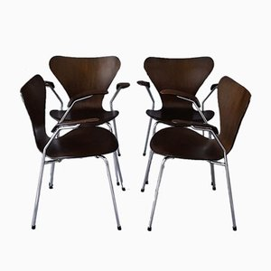 Dark Oak 3207 Chairs by Arne Jacobsen for Fritz Hansen, 1978, Set of 4