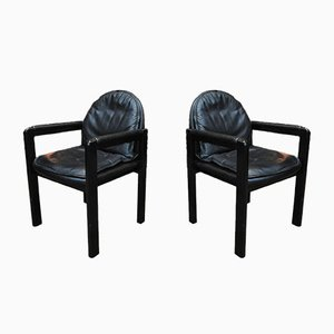 Black Leather Armchairs from Bulo, 1980s, Set of 2
