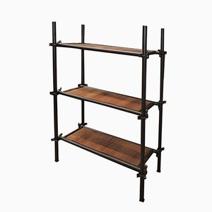 Industrial Metal and Oak Shelving Unit, 1940s
