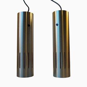 Lámparas colgantes danesas trombón de Jo Hammerborg para Fog & Morup, años 60. Juego de 2