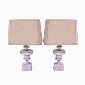 Italienische Silber und Gold Tischlampen, 1970er, 2er Set