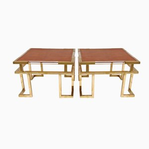Vintage Brass, Plexiglas and Leather Side Tables, 1970s, Set of 2