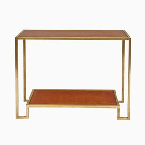 Vintage Gilt Brass Console with Leather Top
