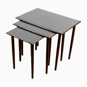 Tavolini a incastro moderni in palissandro, Danimarca, set di 3