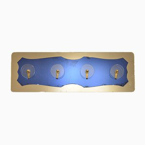 Mid-Century Italian Brass, Glass, & Mirror Coat Rack from Fontana Arte