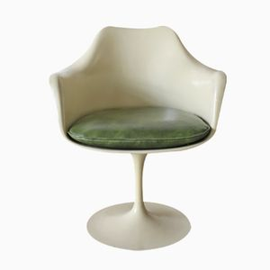 Cremefarbener Mid-Century Tulip Armlehnstuhl von Eero Saarinen für Knoll