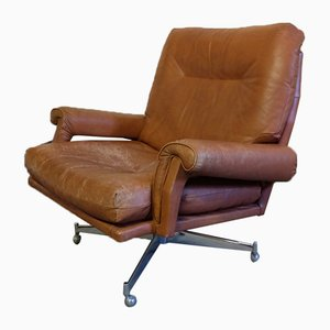 Leather Revolving Lounge Chair by Howard Keith, 1960s