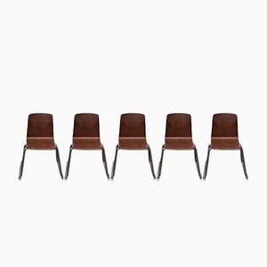 Stackable Thur-Op-Seat Chairs with Metal Frame by Pagholz, Set of 5