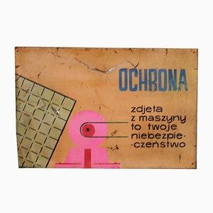 Vintage Industrial Polish Factory Shield Warning Sign