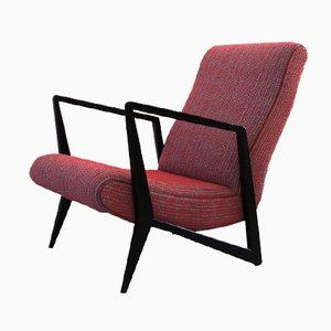 Mid-Century Italian Beech & Fabric Armchair