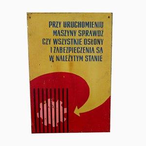 Industrielles Polnisches Vintage Fabrik Warnschild