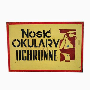 Polish Vintage Industrial Factory Shield Warning Sign