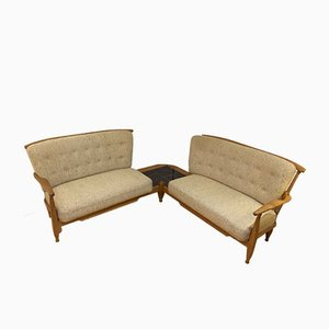 Oak Corner Sofa by Guillerme et Chambron for Votre Maison, 1955