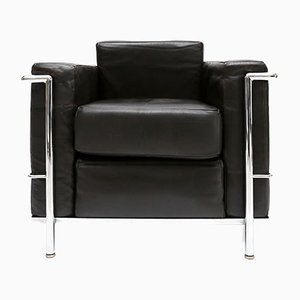 Vintage LC 2 Armchair by Le Corbusier, Jeanneret, and Perriand for Cassina
