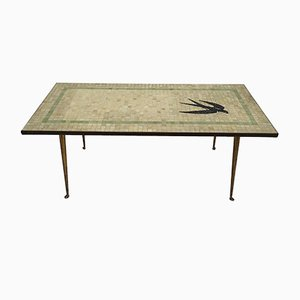German Brass & Mosaic Swallow Coffee Table, 1950s