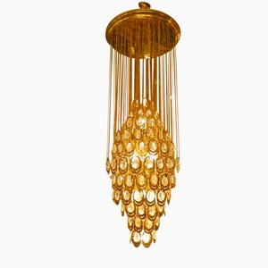 Italian Brass and Glass Chandelier, 1960s