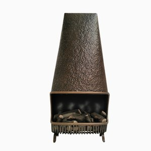 French Steel & Brass Faux Fireplace, 1960s