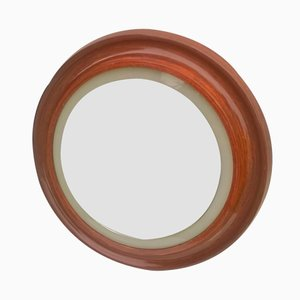 Italian Round Mirror with Teak Frame, 1960s