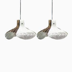 Mazzega Murano Glas Hängelampen von Carlo Nason für Kalmar, 2er Set
