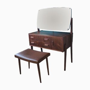 Danish Rosewood Dressing Table & Leather Stool, 1960s