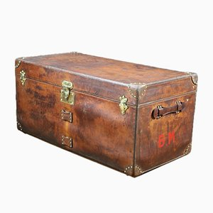 French Leather Trunk from Goyard, 1920s