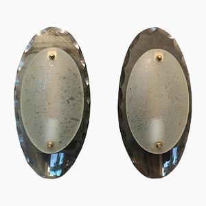 Applique ovali in vetro di Cristal Art, anni '60, set di 2
