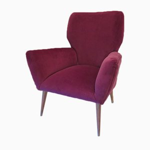 Vintage Armchair with Purple Upholstery, 1950s